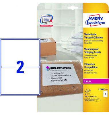 Polyesteretik.wetterf.25/A4 weiß 199,6x143,5 50 St