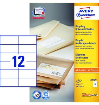 Etiketten LR3424 105 x 48 mm weiß 1200 Stück Recycling