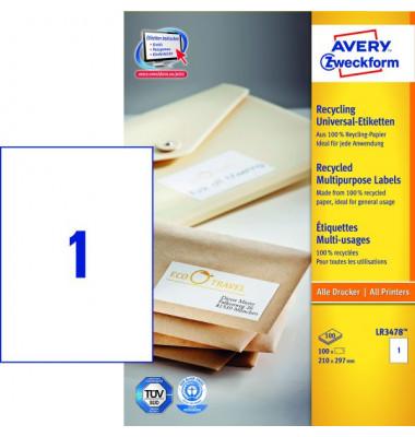 Etiketten LR3478 210 x 297 mm weiß 100 Stück Recycling