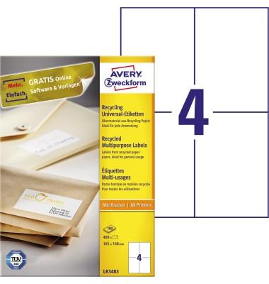 Etiketten LR3483 105 x 148 mm weiß 400 Stück Recycling