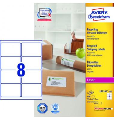 LR7165-100 Versand Etiketten 99,1 x 67,7 mm weiß 800 Stück Recycling