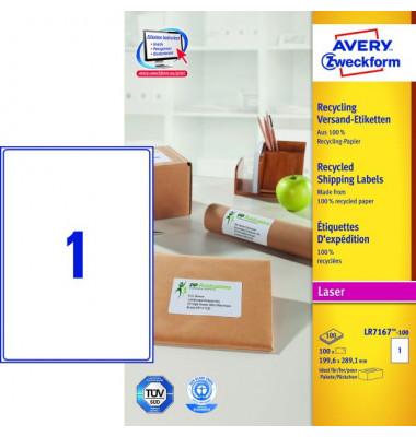LR7167-100 Versand Etiketten 199,6 x 289,1 mm weiß 100 Stück Recycling