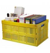 Klappbox 40kg Tragkraft gelb gefaltete-Höhe 6cm 40 Liter