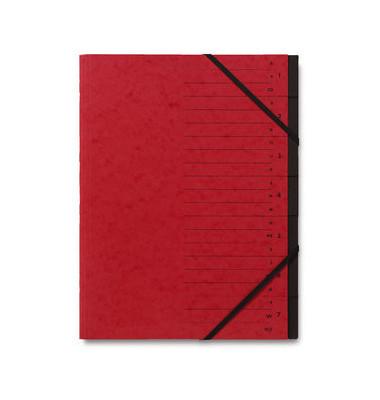 Ordnungsmappe A4 7-Fächer rot Karton 335g