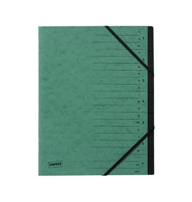 Ordnungsmappe A4 7-Fächer grün Karton 335g
