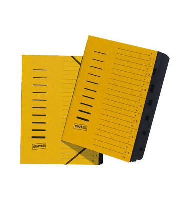 Ordnungsmappe A4 7-Fächer gelb Karton 335g