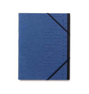 Ordnungsmappe A4 7-Fächer blau Karton 335g