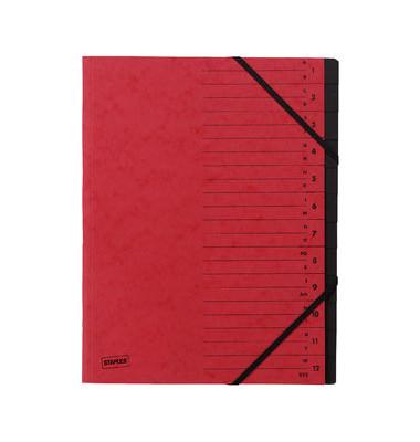 Ordnungsmappe A4 12-tlg. rot