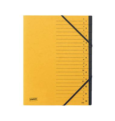 Ordnungsmappe A4 12-tlg. gelb