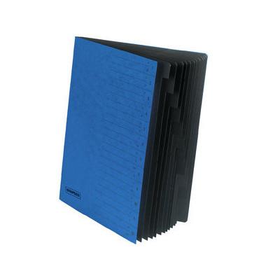 Ordnungsmappe A4 12-tlg. blau
