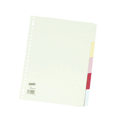Kartonregister blanko A4 180g farbige Taben 5-teilig