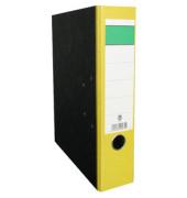 Ordner A4 Wolkenmarmor Rücken gelb 80mm breit grüner Balken