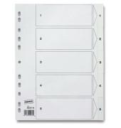 Register 1-5 A4 0,12mm weiße Taben 5-teilig