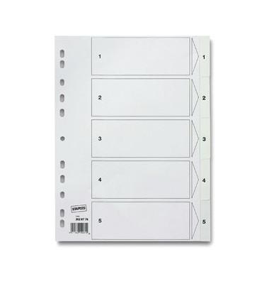 Kunststoffregister 1405802 1-5 A4 0,12mm weiße Taben 5-teilig