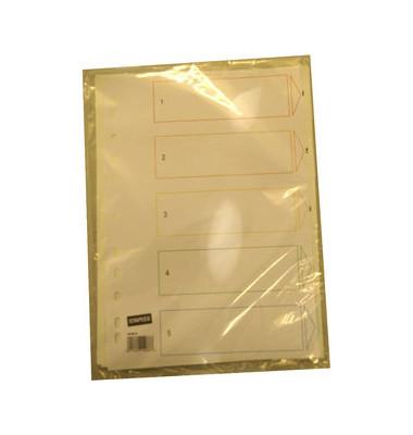 Register 1-5 A4 weiße Taben 5-teilig