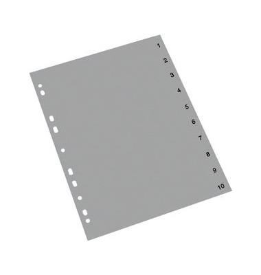 Kunststoffregister 1410080 1-10 A4 0,12mm graue Taben 10-teilig