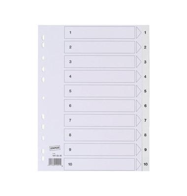 Kunststoffregister 1410235 1-10 A4 0,12mm weiße Taben 10-teilig