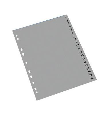 Kunststoffregister 1411393 1-20 A4 0,12mm graue Taben 20-teilig
