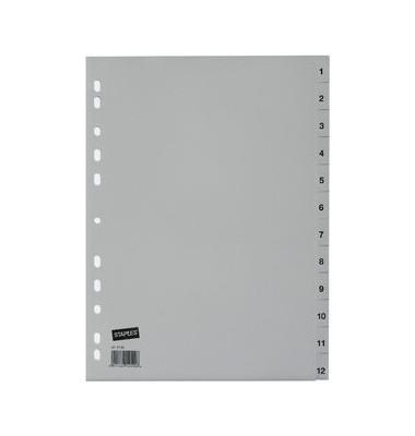 Kunststoffregister 1412789 1-12 A4 0,12mm graue Taben 12-teilig