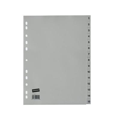 Kunststoffregister 1413704 1-15 A4 0,12mm graue Taben 15-teilig