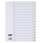 Kunststoffregister 1414823 1-15 A4 0,12mm weiße Taben 15-teilig
