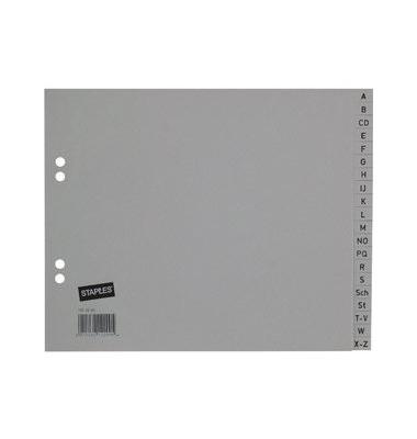 Kunststoffregister 1420268 A-Z A4 halbe Höhe 0,12mm graue Taben 20-teilig