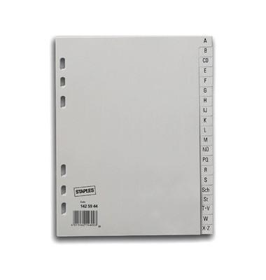 Kunststoffregister 1425944 A-Z A5 0,12mm graue Taben 20-teilig