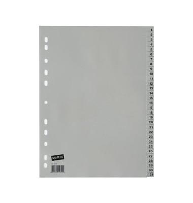 Kunststoffregister 1431507 1-31 A4 0,12mm graue Taben 31-teilig
