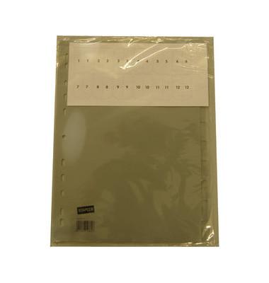 Kunststoffregister 1436079 blanko A4 0,12mm graue Fenstertaben zum wechseln 10-teilig