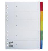 Kunststoffregister 1440148 blanko A4 0,12mm farbige Taben 5-teilig