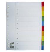 Kunststoffregister 1441269 blanko A4 0,12mm farbige Taben 10-teilig