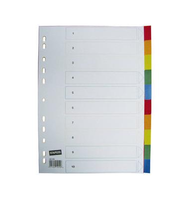 Register blanko A4 0,12mm farbige Taben 10-teilig