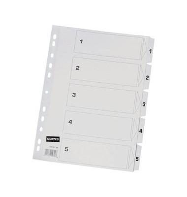 Kartonregister 1-5 A4 170g weiße Taben 5-teilig