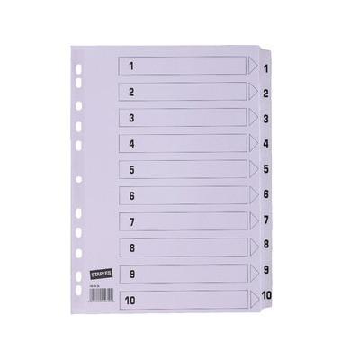 Kartonregister 1461532 1-10 A4 170g weiße Taben 10-teilig
