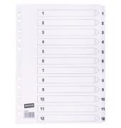 Kartonregister 1462578 1-12 A4 170g weiße Taben 12-teilig
