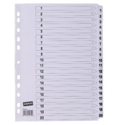 Kartonregister 1-20 A4 170g weiße Taben 20-teilig