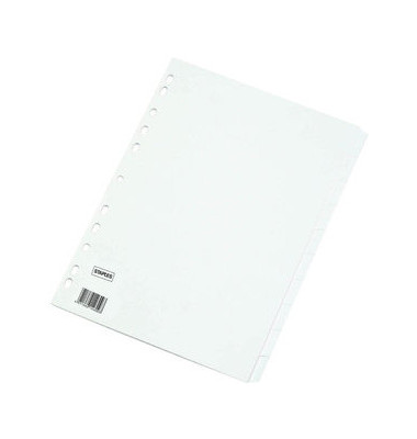 Kartonregister blanko A4 170g weiße Taben 10-teilig