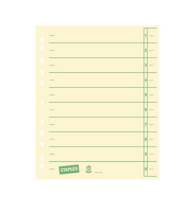 Trennblätter A4 chamois/grün 230g Karton 100 Blatt Recycling