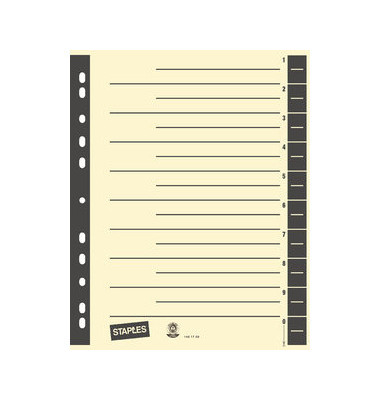 Trennblätter A4 chamois/schwarz farbige Taben 230g Karton 100 Blatt Recycling