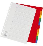 Kunststoffregister 1489112 blanko A4 0,12mm farbige Taben 10-teilig