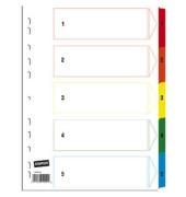 Kartonregister 1-5 A4 170g farbige Taben 5-teilig