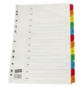 Kartonregister Januar-Dezember A4 170g farbige Taben 12-teilig