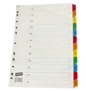 Kartonregister 1497759 Januar-Dezember A4 170g farbige Taben 12-teilig