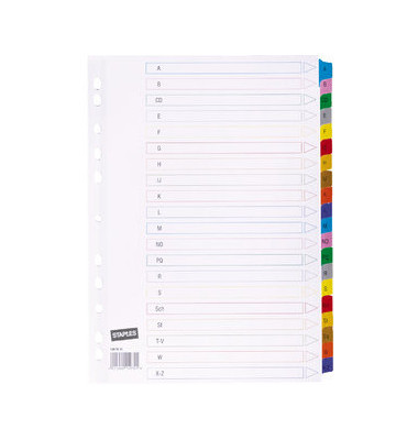 Kartonregister 1497813 A-Z A4 170g farbige Taben 20-teilig