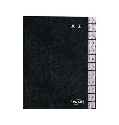 Pultordner A4 A-Z 24-teilig A4 schwarz 340x265x30 RC-Hartpappe