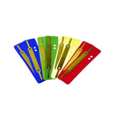 Heftstreifen kurz 1610639, 34x150mm, Kunststoff mit Metalldeckleiste, farbig sortiert, 100 Stück