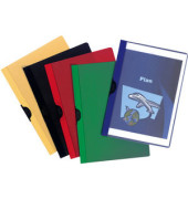 Klemmhefter A4 PVC-Folie farbig sortiert transparenter Vorderdeckel für 30 Blatt 25 Stück