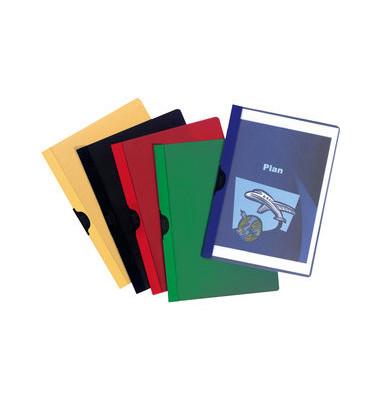 Klemmhefter A4 PVC farblich sortiert mit Metallclip 6mm Füllhöhe für 60 Blatt 25 Stück
