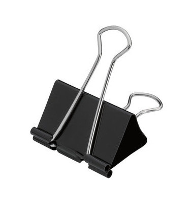 Foldbackklammern 50mm schwarz Klemmweite 28mm 12 Stück