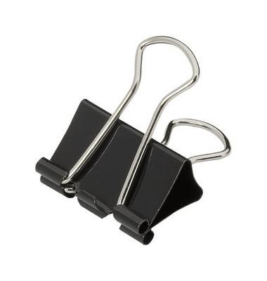 Foldbackklammern 25mm schwarz Klemmweite 9mm 12 Stück